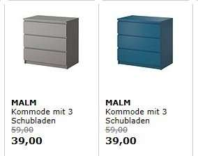 Lokal ikea walldorf malm kommode in grau und t rkis for Kommode grau ikea