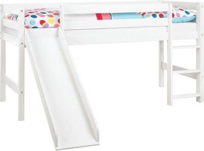 hochbett spielbett sven mit rutsche aus kiefer massiv in wei f r 69 90 m. Black Bedroom Furniture Sets. Home Design Ideas