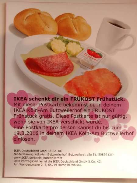 ikea gratis frukost fr hst ck k ln butzweilerhof. Black Bedroom Furniture Sets. Home Design Ideas