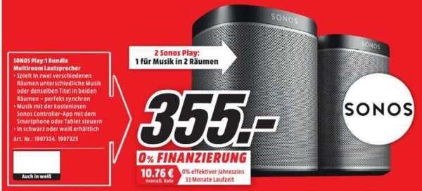 bielefeld sonos play 1 2 room starter set im mediamarkt. Black Bedroom Furniture Sets. Home Design Ideas