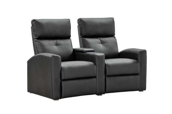 heimkino jasper home cinema 2 sitzer sofa mit tisch schwarzes kunstleder. Black Bedroom Furniture Sets. Home Design Ideas