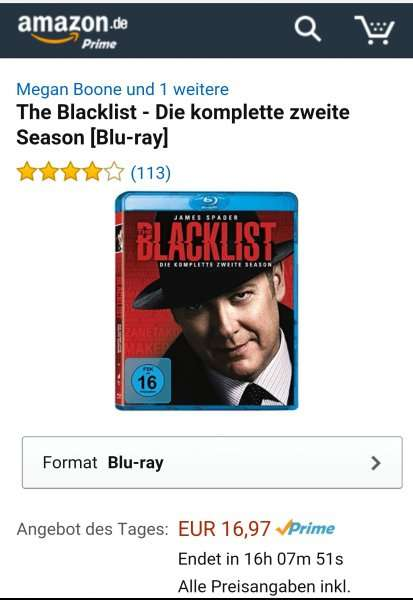 amazon prime the blacklist season 2 blu ray angebot des tages bei amazon. Black Bedroom Furniture Sets. Home Design Ideas