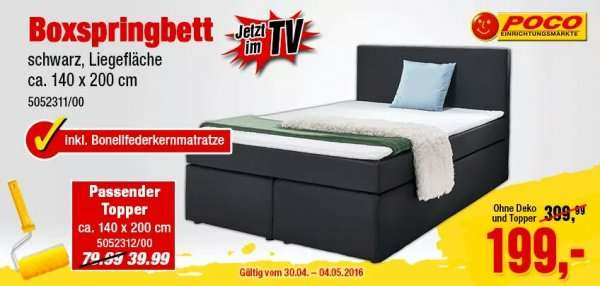 poco bundesweit boxspringbett 140x200cm f r 199 ohne. Black Bedroom Furniture Sets. Home Design Ideas