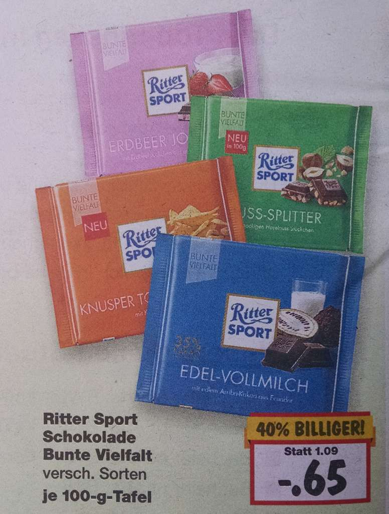 kaufland ritter sport schokolade 40 billiger. Black Bedroom Furniture Sets. Home Design Ideas