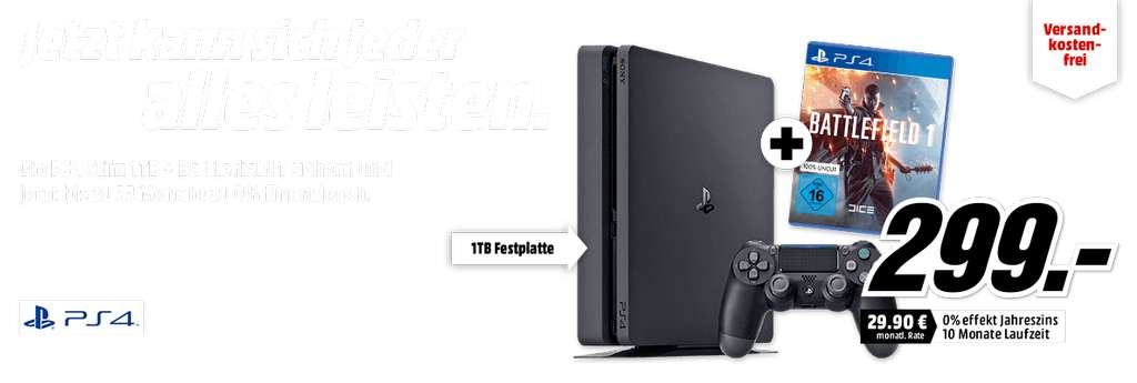 mediamarkt ps4 slim 1tb battlefield 1 f r 299 euro inkl versandkosten. Black Bedroom Furniture Sets. Home Design Ideas