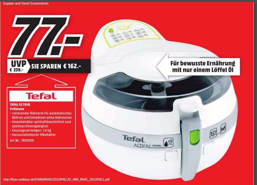 mediamarkt berlin umland tefal fz7010 actifry hei luft fritteuse. Black Bedroom Furniture Sets. Home Design Ideas
