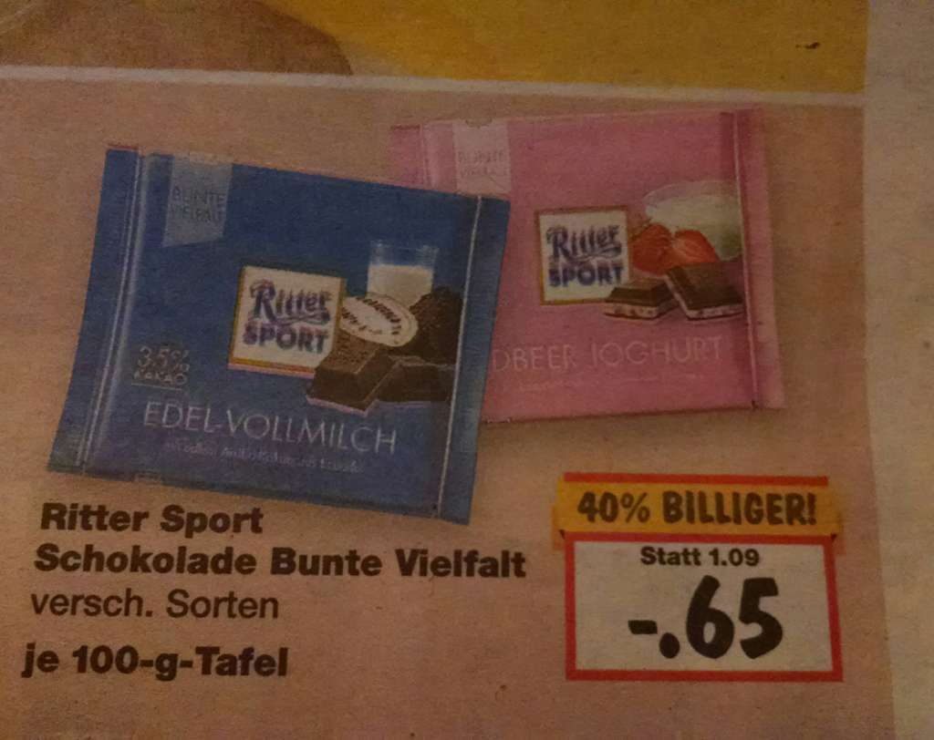 kaufland bundesweit ritter sport 40 billiger. Black Bedroom Furniture Sets. Home Design Ideas