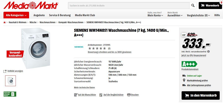 waschmaschine siemens wm14n0s1 f r 333 eur inkl versand mediamarkt. Black Bedroom Furniture Sets. Home Design Ideas