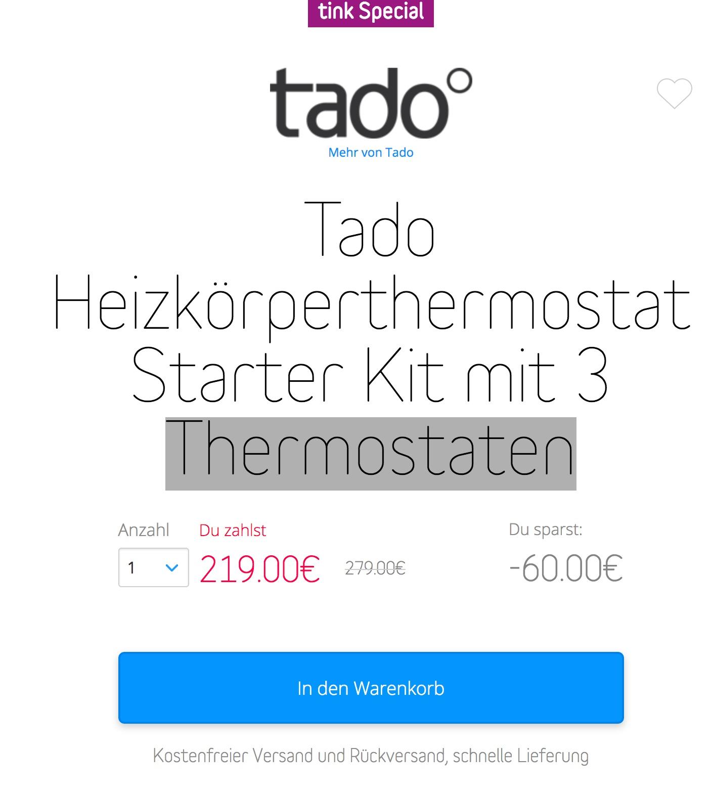 tado heizk rperthermostat starter kit mit 3 thermostaten black friday 2016 best preis. Black Bedroom Furniture Sets. Home Design Ideas