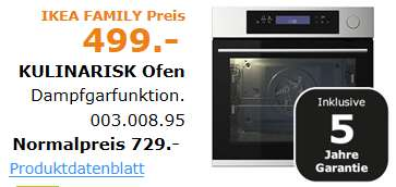 ikea family preis kulinarisk backofen mit dampfgarfunktion edelstahldesign f r 499 euro. Black Bedroom Furniture Sets. Home Design Ideas