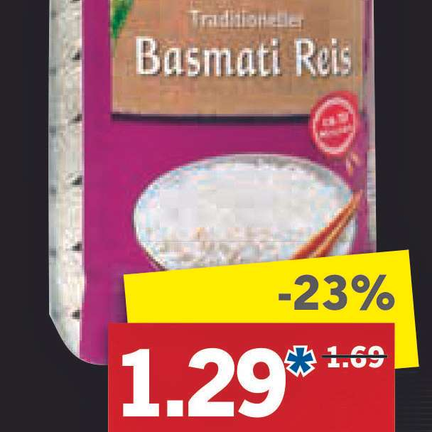 basmati reis 1000g packung f r nur 1 29 bei lidl. Black Bedroom Furniture Sets. Home Design Ideas