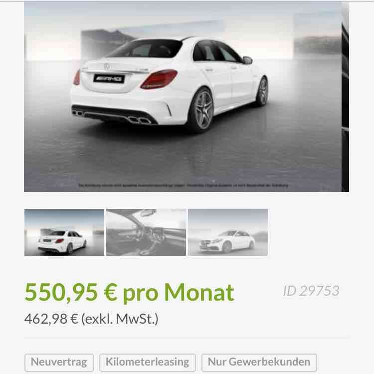 Lease Mercedes Benz: Gewerbe Leasing Brutto 550,95€ MERCEDES-BENZ C 63 AMG S