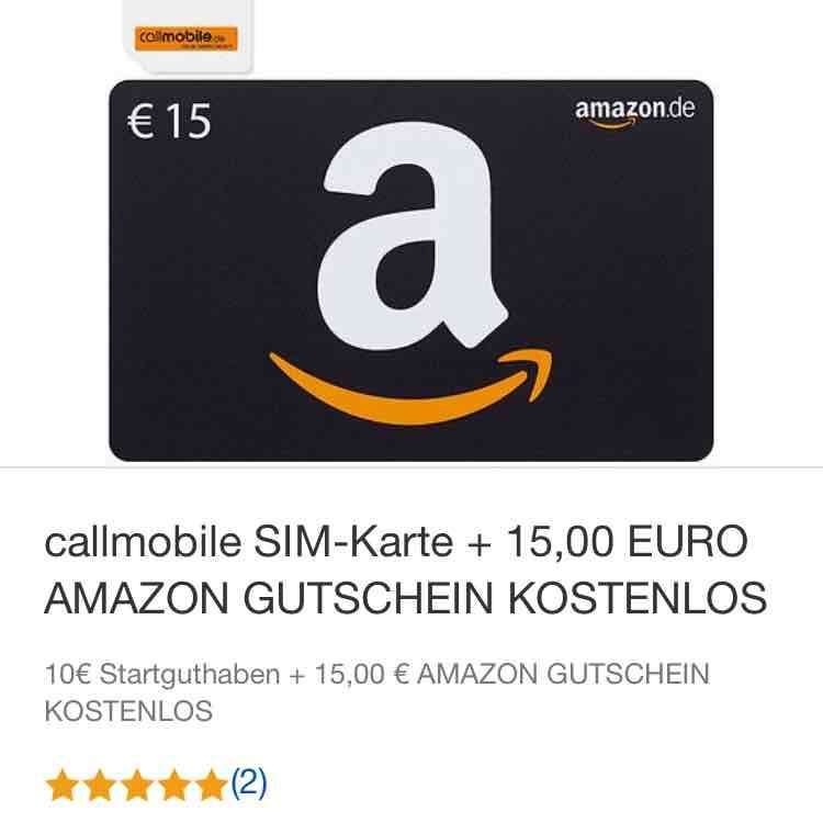 callmobile simkarte amazon gutschein 15 f r 2 95. Black Bedroom Furniture Sets. Home Design Ideas