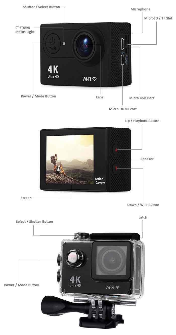 gearbest h9 ultra hd 4k action camera. Black Bedroom Furniture Sets. Home Design Ideas