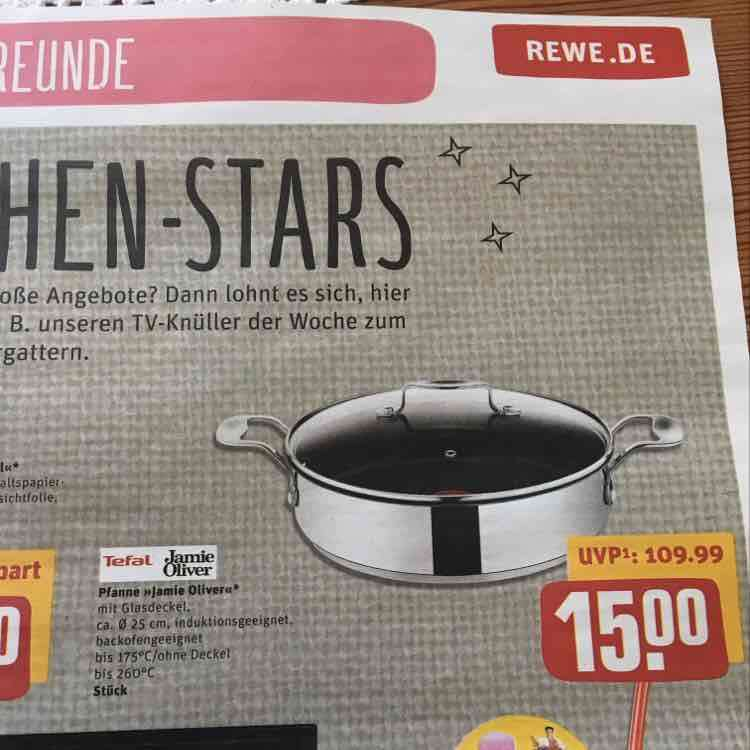 tefal jamie oliver servierpfanne rewe center idealo 32 00. Black Bedroom Furniture Sets. Home Design Ideas