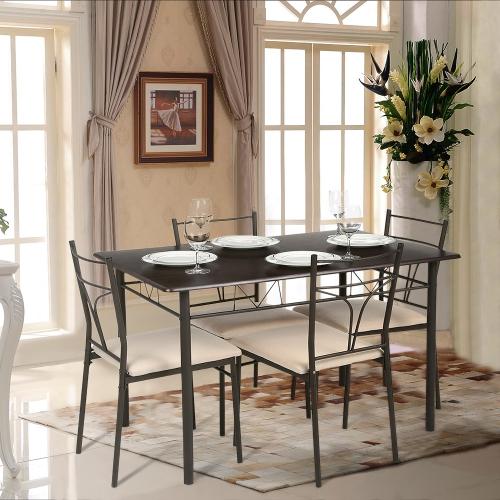 g nstiges esszimmertischset tisch vier st hle gepolstert inklusive versand. Black Bedroom Furniture Sets. Home Design Ideas