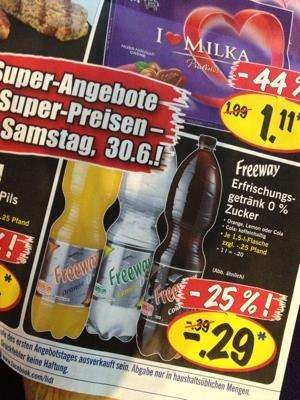 LIDL Freeway Zero Getränke (Cola, Lemon, Orange) für 20 Cent pro ...