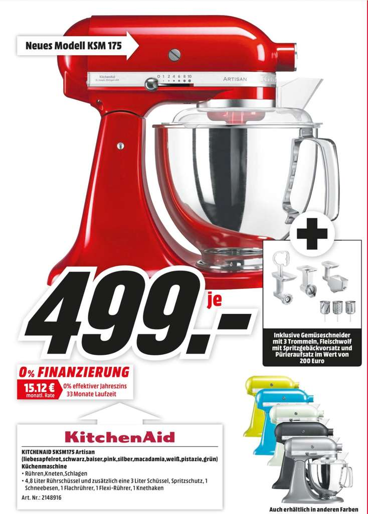 lokal k ln kitchenaid artisan 5ksm175 verschiedene farben inkl fleischwolf mit spritzgeb ck. Black Bedroom Furniture Sets. Home Design Ideas