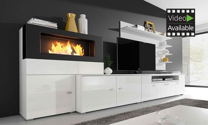 olympo kamin-set für das wohnzimmer in weiß oder schwarz inkl,