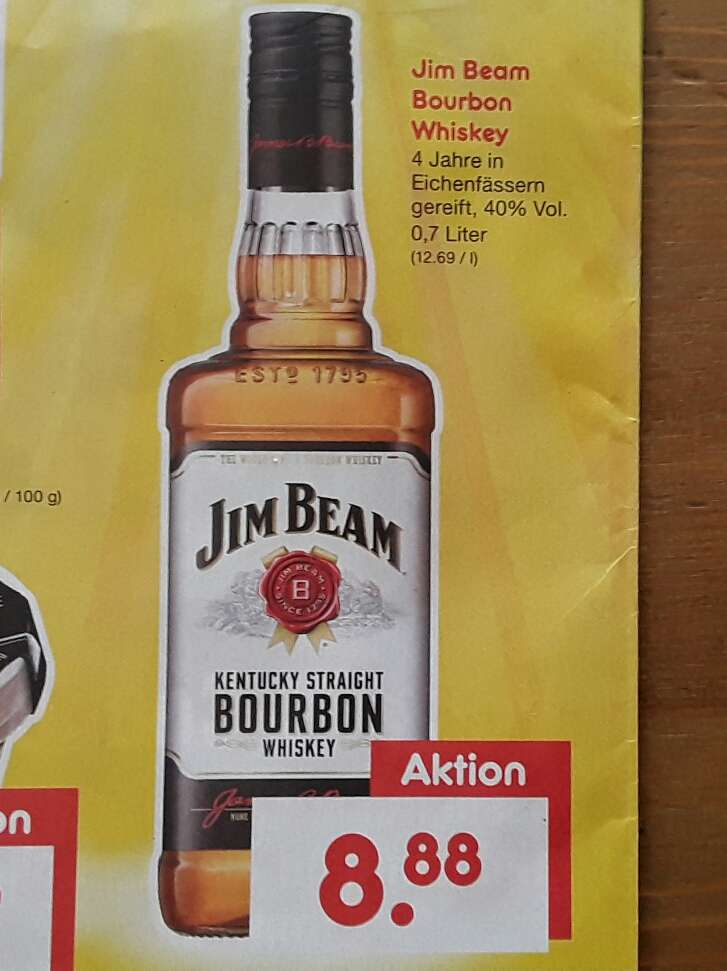 jim beam bourbon whiskey 0 7l flasche f r 8 88 am 15 4. Black Bedroom Furniture Sets. Home Design Ideas