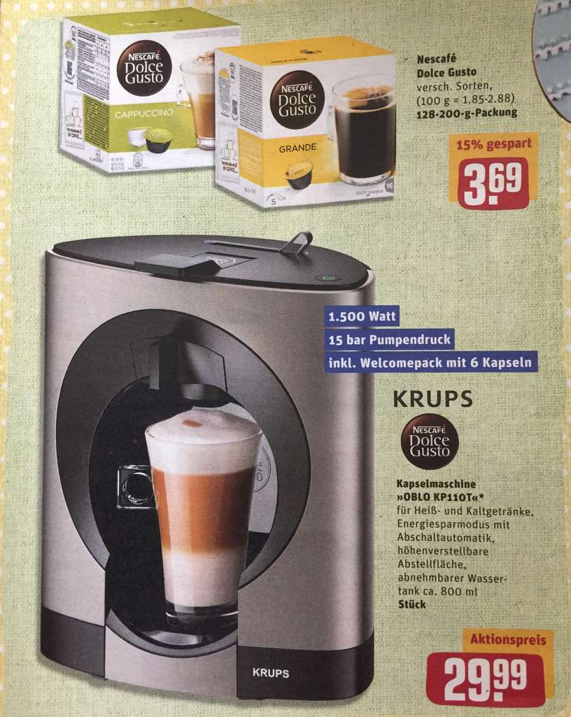 krups dolce gusto nescaf oblo titanium exklusiv kp110t f r 29 99 rewe. Black Bedroom Furniture Sets. Home Design Ideas