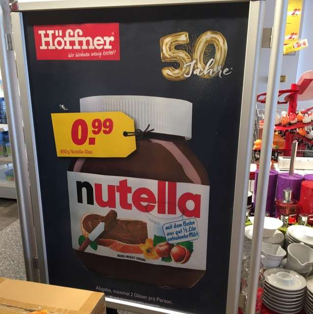 nutella 450g glas f r 99 cent bei h ffner in waltersdorf. Black Bedroom Furniture Sets. Home Design Ideas