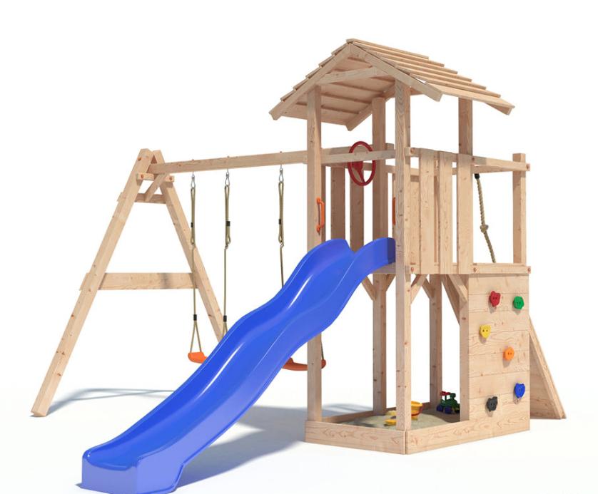 gro er spiel und kletterturm mit schaukel rutsche und kletterwand f r 295 20. Black Bedroom Furniture Sets. Home Design Ideas