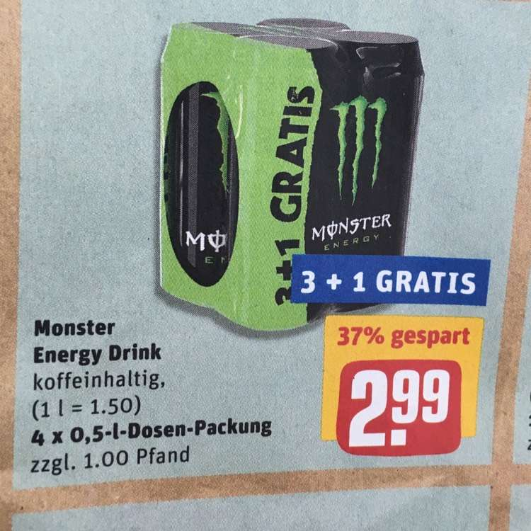 monster energy 2 99 4er pack bei rewe. Black Bedroom Furniture Sets. Home Design Ideas