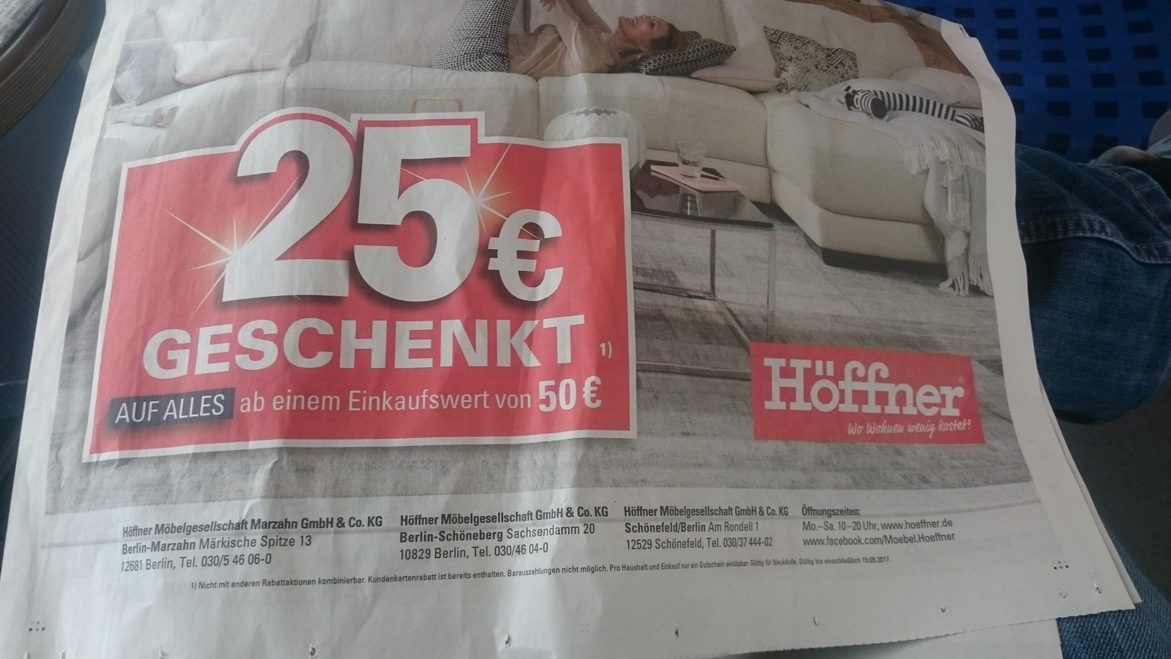 offline h ffner m belhaus 25 gutschein auf alles bei 50 mindesteinkauf bis. Black Bedroom Furniture Sets. Home Design Ideas