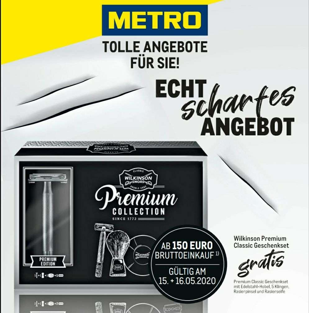 Metro] Ab 150€ Einkauf Wilkinson Rasierer Gratis