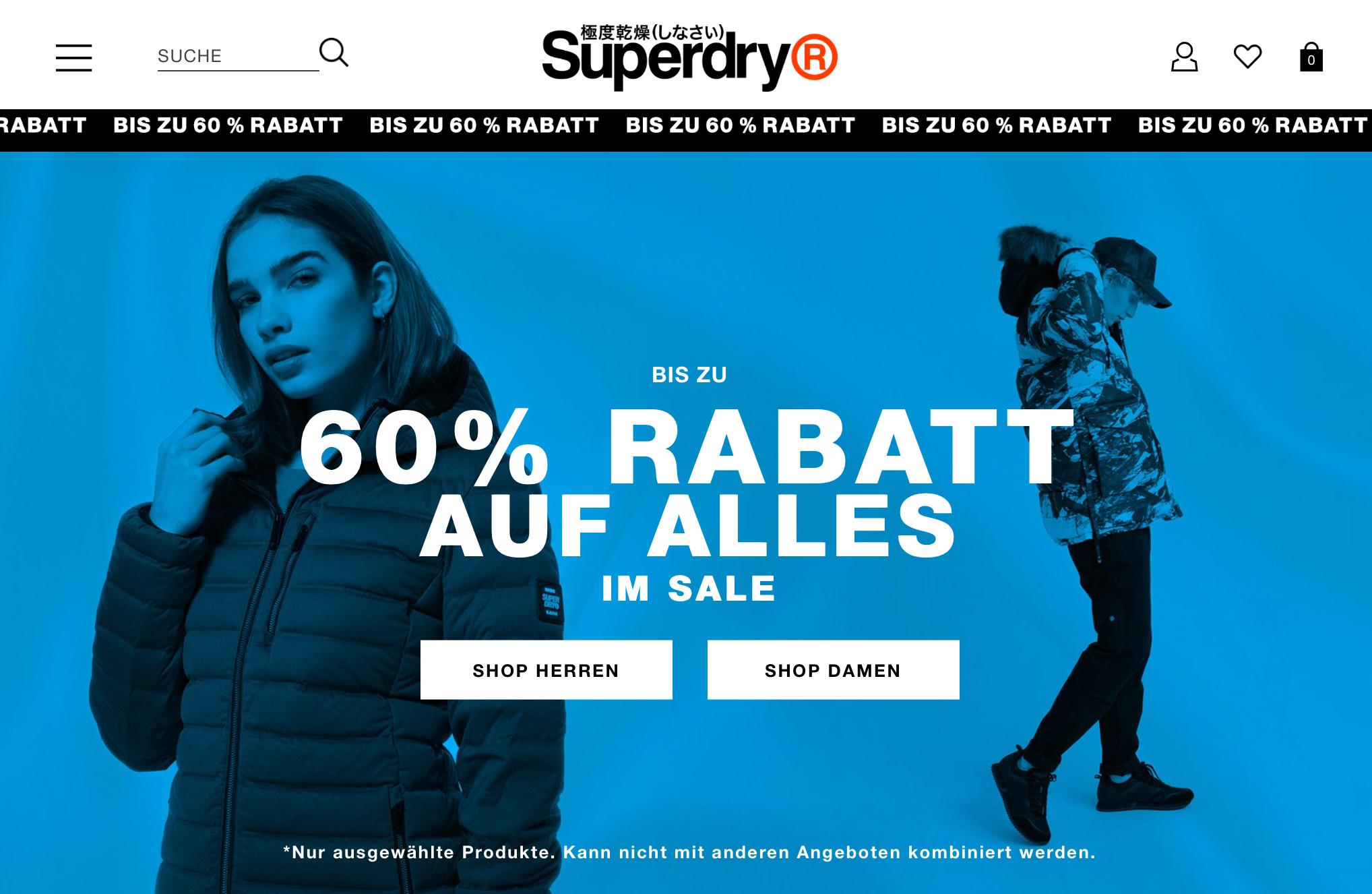 Superdry] Bis zu 60% Rabatt auf Alles im Sale + kostenloser
