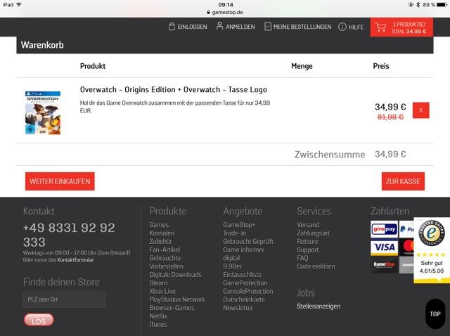 -GAMESTOP-   Spiel Overwatch (PS4, XBox One, PC) + Overwatch Tasse für 34,99€ // ohne Tasse 29,99€