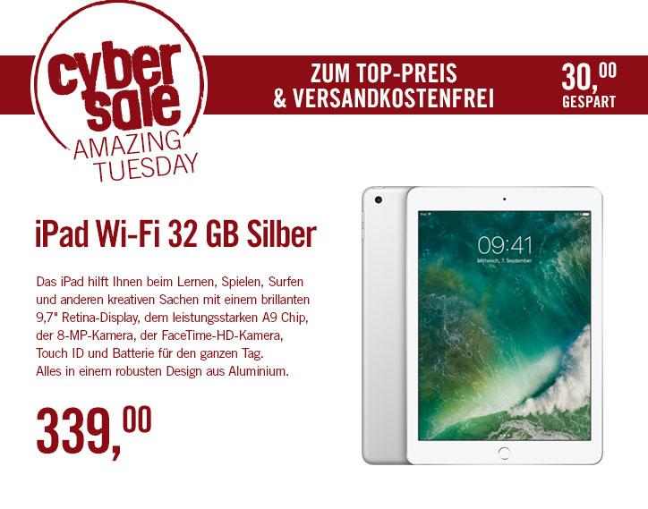 2017er Apple iPad WiFi mit 32GB für 339,- EUR, versandkostenfrei. Idealo: 355,- EUR