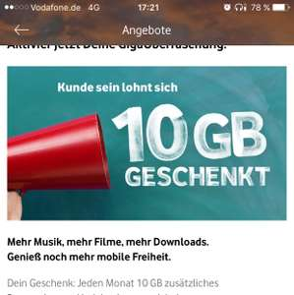 Vodafone junge Bestandskunden (u27): 10 GB jeden Monat umsonst
