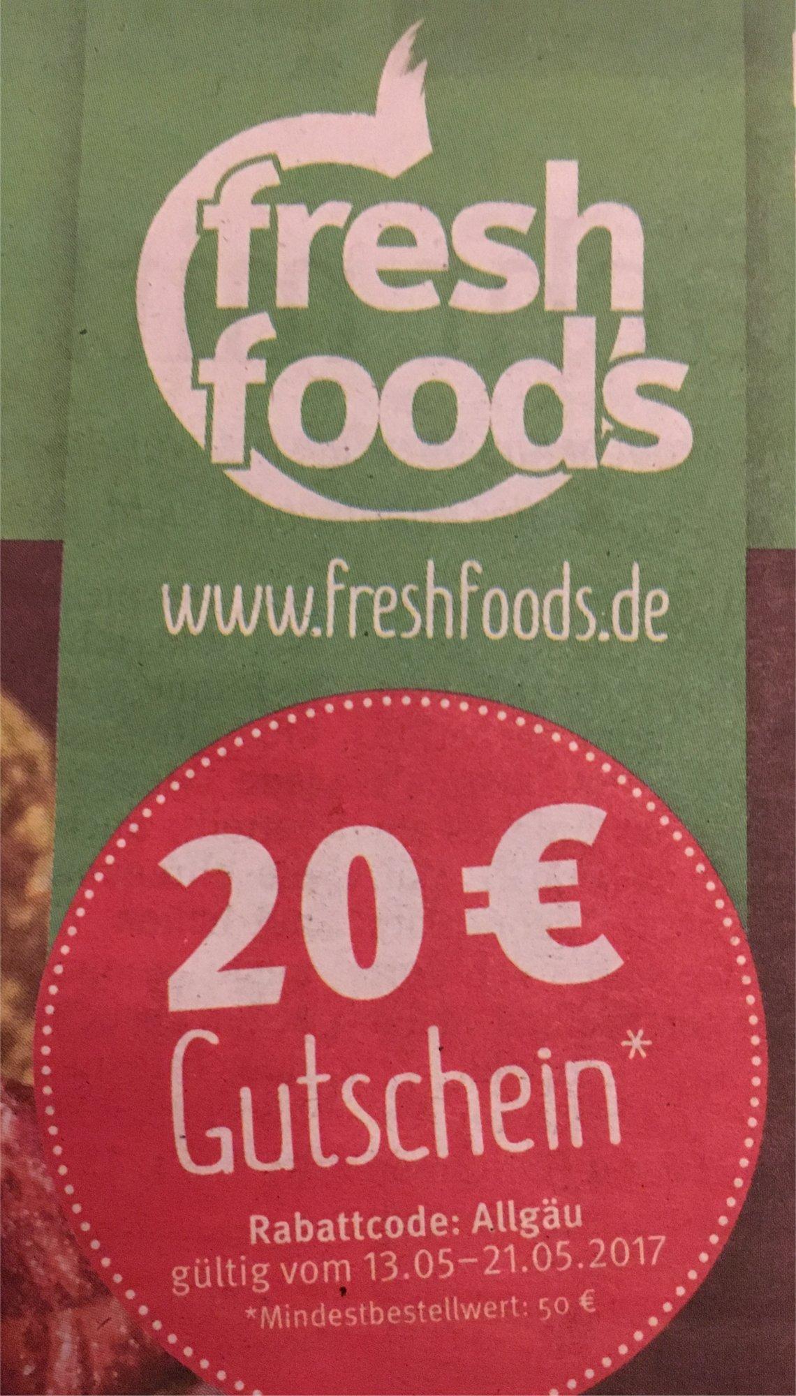 [lokal München] Freshfoods Gutschein 20€ (MBW 50€)