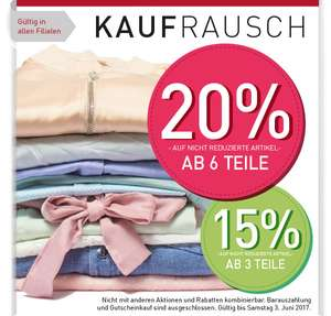 20 % / 15% Rabatt bei Modepark Röther in allen Filialen