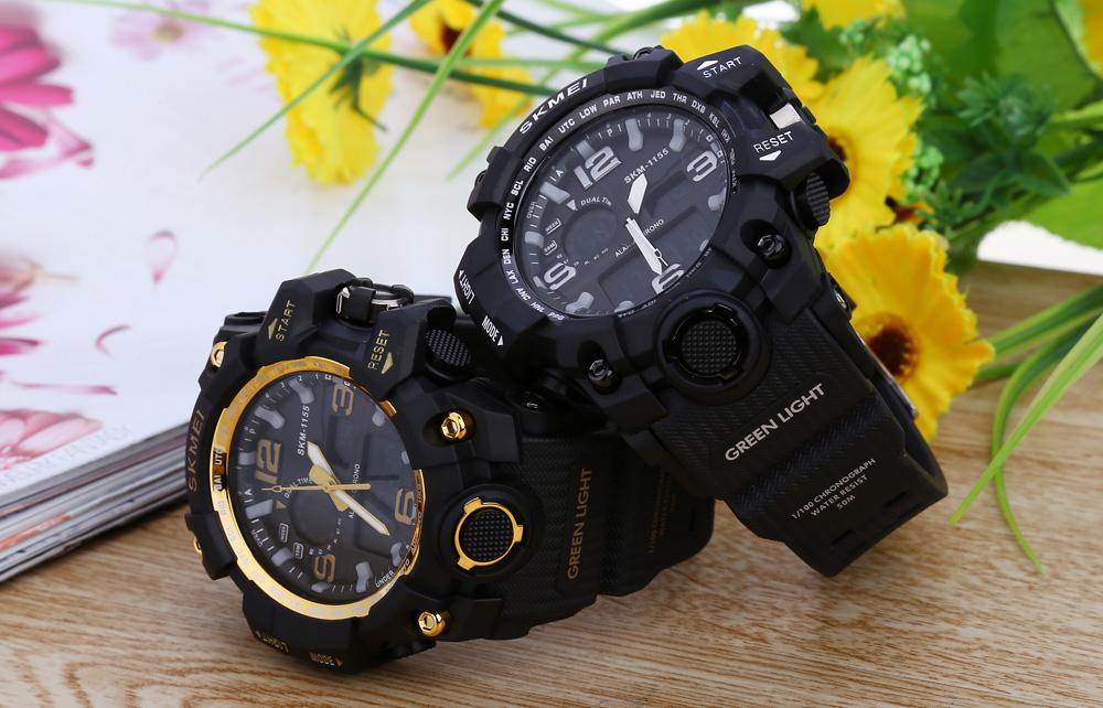SKMEI 1155 wasserdichte Uhr mit Wecker, zwei Zeitzonen und beleutetem Ziffernblatt aus China