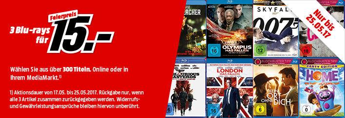 Media Markt: 3 Blu-rays für 15€ aus über 150