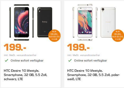 """[Saturn LNS] HTC Desire 10 lifestyle Smartphone 13 MP 32 GB Schwarz oder weiß 5.5"""" Super LCD 1280 x 720 Qualcomm Snapdragon 400 4x1.6 GHz RAM: 3GB NFC BT 4.1 Android 6.0 für je 199,-€ Versandkostenfrei"""
