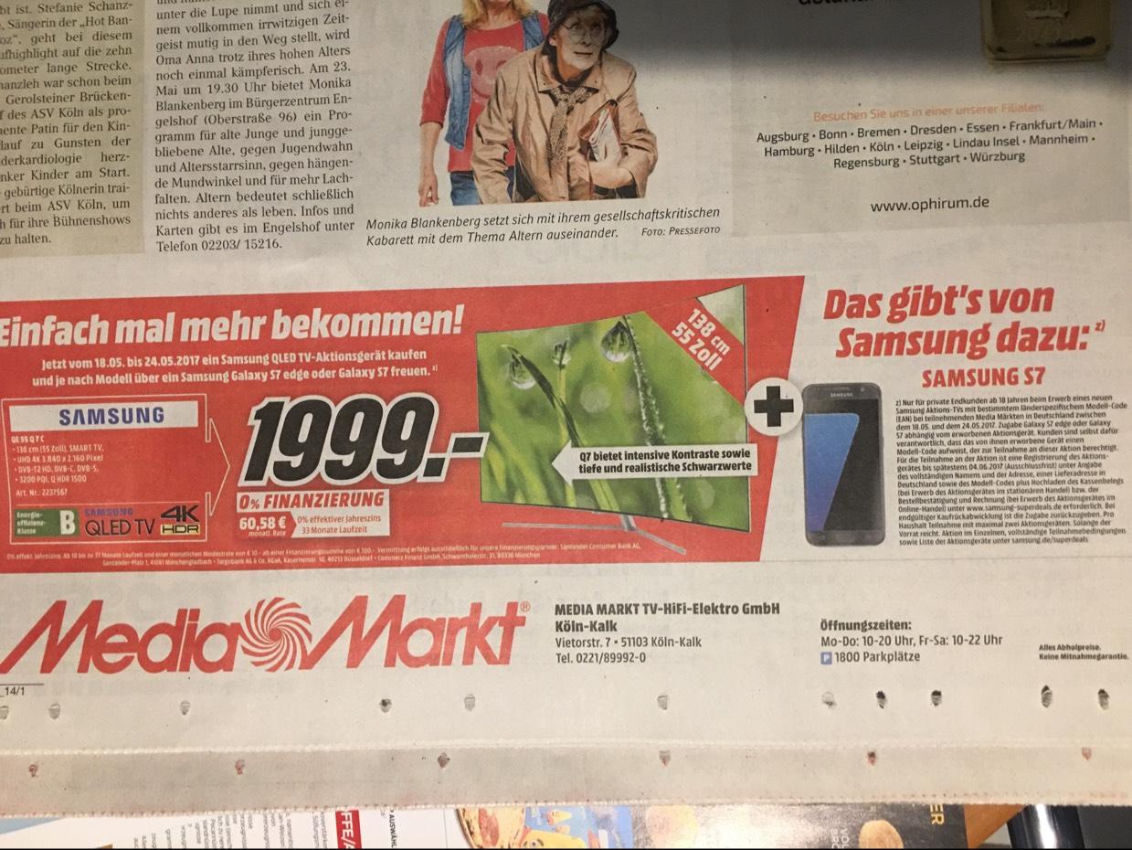 [Lokal Media Markt Köln Kalk] Samsung QE 55 Q 7 C (Qled TV) + Samsung Galaxy S 7 für 1.999,-