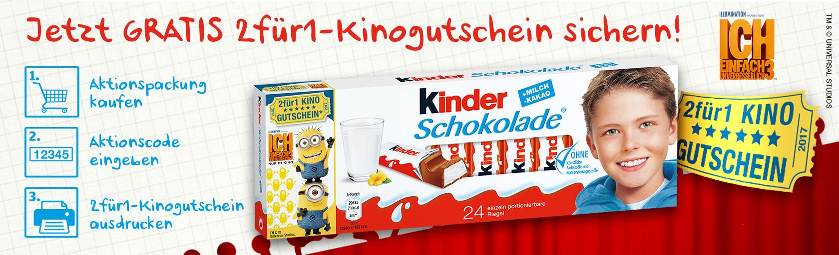 """2für1 Kino Gutschein für """"Ich einfach unverbesserlich 3"""" @ Kinder Schokolade 24er Aktionspack"""