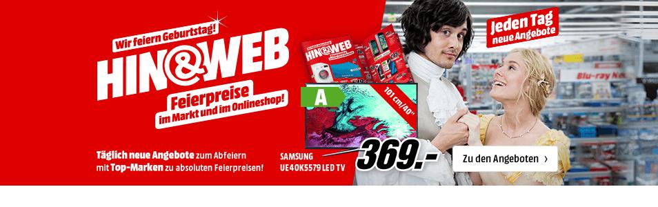 Media Markt: 5 Jahre Onlineshop Geburtstag + 2% Cashback + 5 oder 10€ Media Markt Wertgutschein*