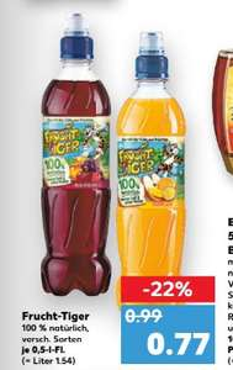 [Kaufland] FruchtTiger 0,5l  dealpreis = angebot + coupon