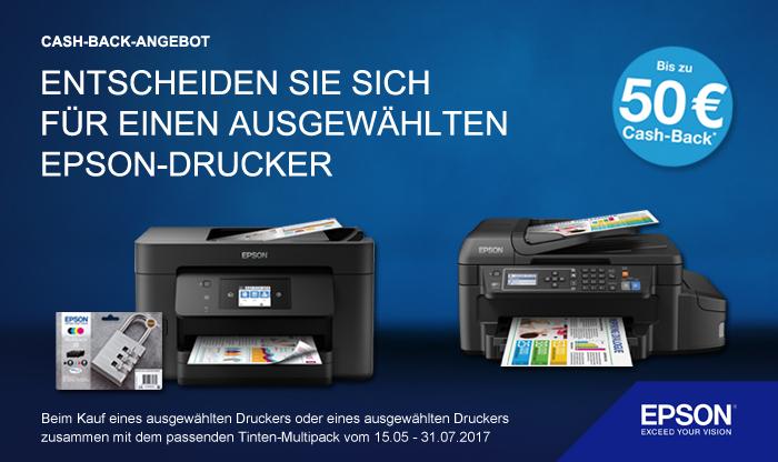 Cashback bis zu 50 EUR / 50 CHF auf ausgewählte Epson-Drucker (teils mit Tinten-Multipack)