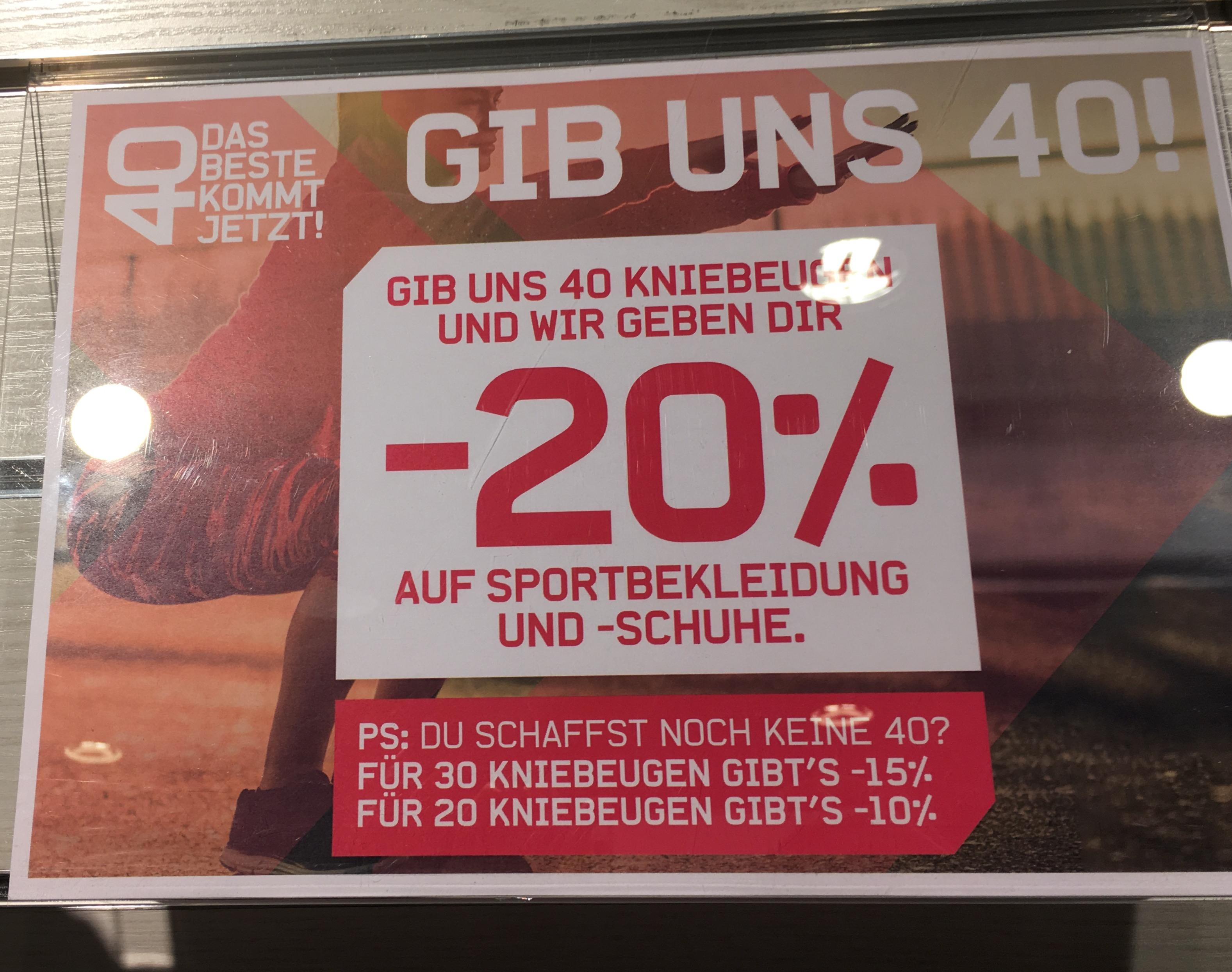 20% für 40 Kniebeugen bei Karstadt-Sport auf Schuhe und Sportbekleidung