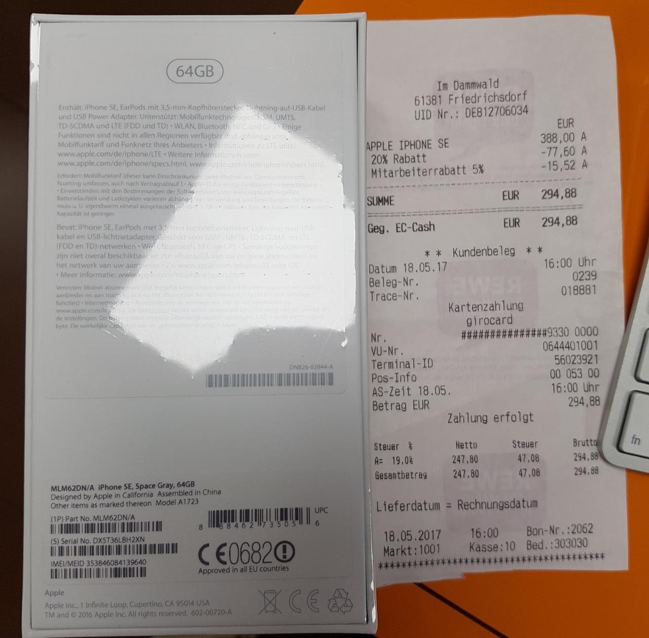 [Lokal] Friedrichsdorf Rewe Center iPhone SE 64GB Space Grau für 310,4€ oder (294,88€)