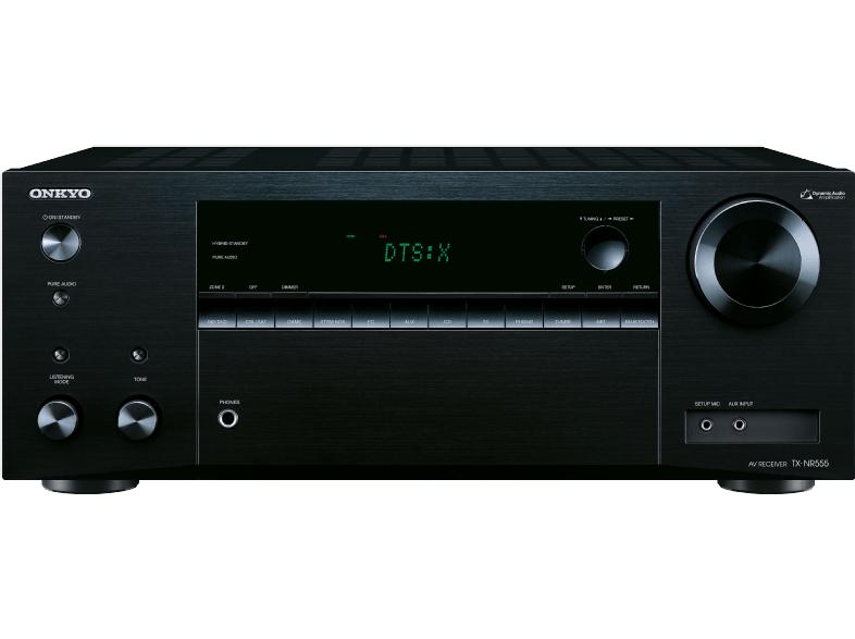 Onkyo TX-NR555 (B) 7.2-Kanal-A/V-Netzwerk-Receiver (130 W/Kanal,DTS: X aufrüstbar, Dolby Atmos, AirPlay, 384 kHz/32-Bit D/A-Wandler, 6 HDMI-Eingänge/1 Ausgang) schwarz für 277,-€ [Mediamarkt]