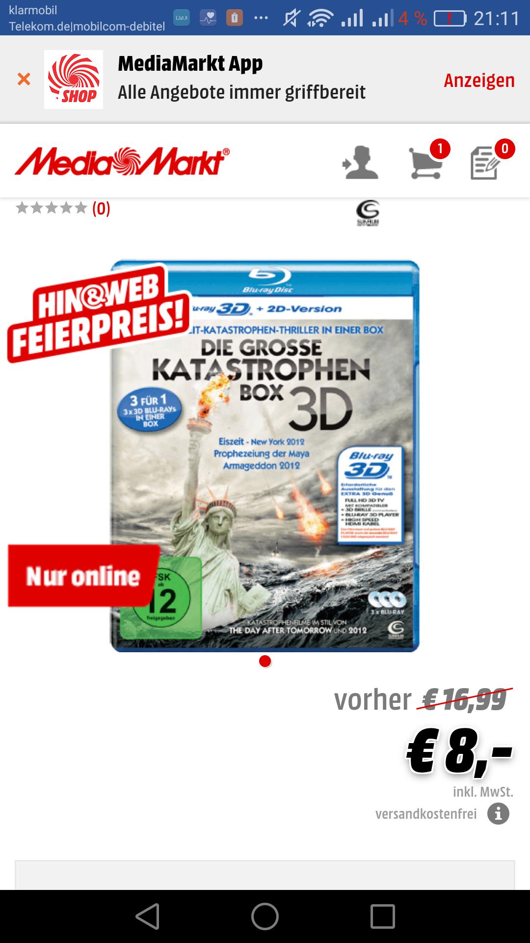 3D + 2D blu-ray Boxen ab 8 Euro, media markt