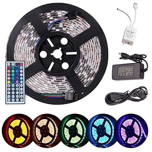 [Amazon] Neue Version 2.0 Wasserfeste Ferngesteuerte RGB LED Kette mit Eingebauten 300 Lämpchen zuzüglich allen Zubehören (5 Meter)