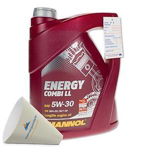[eBay / Amazon] 5 Liter MANNOL SAE 5W-30 Energy Combi LL Motoröl / Longlife III (3,99€ je Liter)  mit Einweg-Einfülltrichter